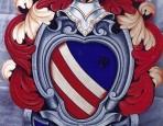 Emblema araldico su tavola sagomata