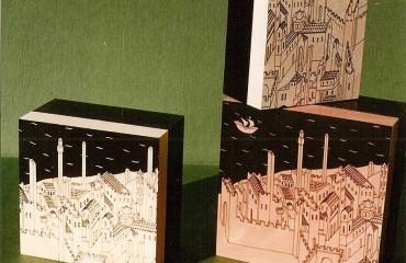 Tris di scatole quadrate, serigrafate